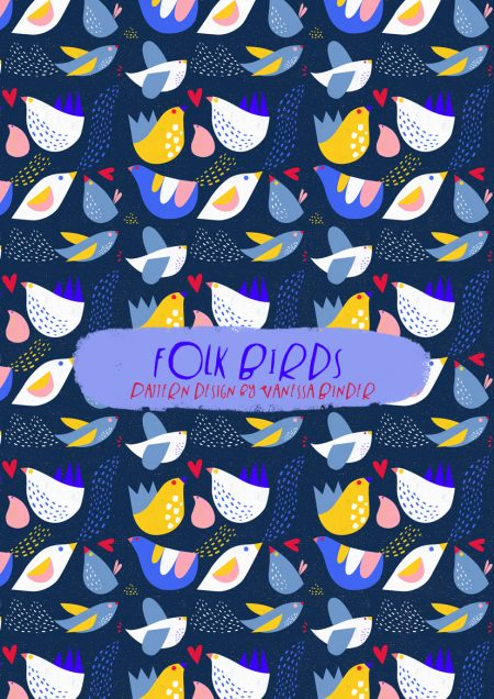 FOLK BIRDS Pattern Design by Vanessa Binder